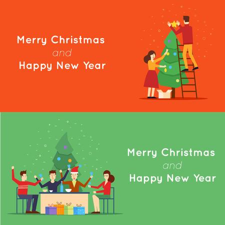 zanahoria caricatura: Navidad y Feliz A�o Nuevo hombre y mujer decorar un �rbol de Navidad, la fiesta. 2 banderas de la tela y materiales de promoci�n de dise�o plana. Vectores