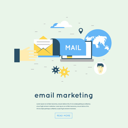 emails: Email marketing. Flat design vector illustration.