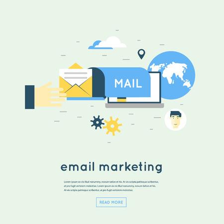 online business: Email marketing. Flat design vector illustration.