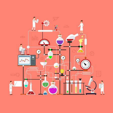 Laboratory workspace and science equipment concept. Chemistry, physics, biology. Flat design vector illustration.
