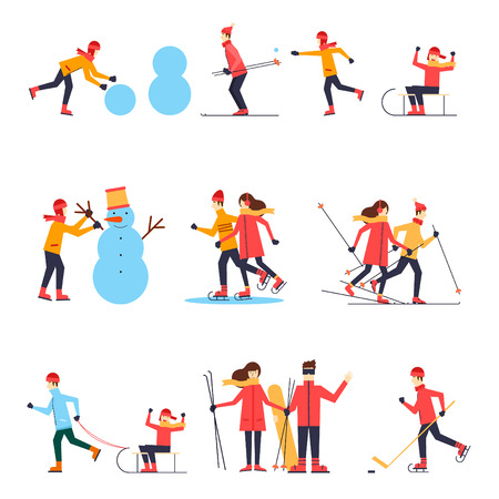 and in winter: People involved in winter sports skating, skiing, snowboarding, hockey, sled. Flat design vector illustration. Illustration