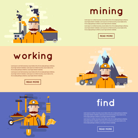 gold mine: Mining mineral, black mining, coal industry. Miner in a mine produces breed. The truck carries the rock from the mine to the plant. Flat design vector illustration. 3 banners. Illustration