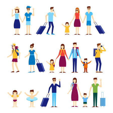 turista: Persone di viaggio con i bambini, le famiglie. Piatto illustrazione disegno vettoriale. Vettoriali
