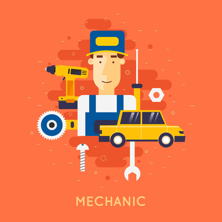 Car service. Auto mechanic repair of machines and equipment. Car diagnostics. Vector illustration and flat icons. Illusztráció