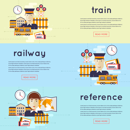 railway station: Railway station concept. Train driver, manager, cashier, railway. 3 banners. Flat icons vector illustration. Illustration