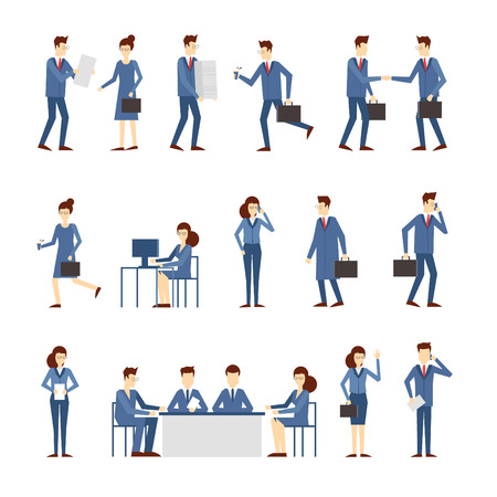 late: Business people in an office work, negotiate, program, hurry, work at the computer, reading the report, a lot of work stress. Flat design vector illustration.