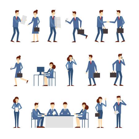 personas leyendo: La gente de negocios en un trabajo de oficina, negocian, programa, prisa, el trabajo en la computadora, leer el informe, una gran cantidad de estrés en el trabajo. Ilustración vectorial Diseño plano. Vectores
