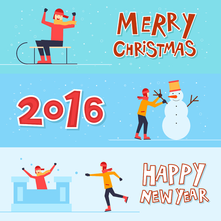 winter fun: Merry Christmas and Happy New Year sledding, making snowmen, snowball, winter fun. Flat design. Illustration