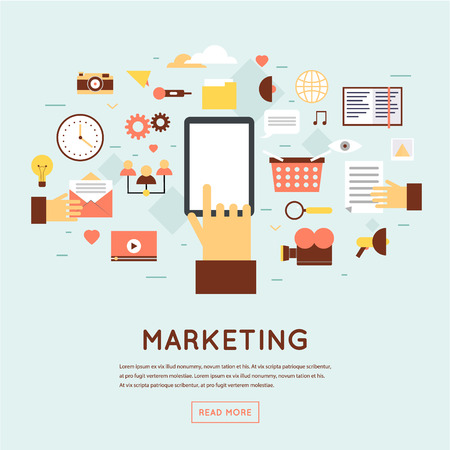 Marketing Strategy: Marketing mobile, email marketing, video marketing and digital marketing, strategy and digital marketing. Flat design vector illustration.