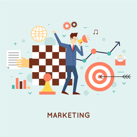 Marketing, e-mail marketing, video marketing en digitale marketing, strategie en digitale marketing. Platte ontwerp vector illustratie.