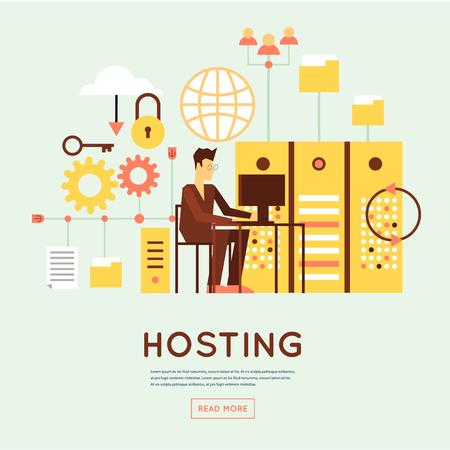 File hosting, database server, data exchange, digital data center, file storage, file protection. Flat design.
