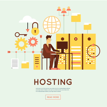 web hosting: File hosting, database server, data exchange, digital data center, file storage, file protection. Flat design.