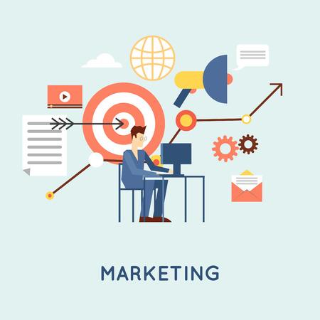 Marketing mobile, email marketing, video marketing and digital marketing, strategy and digital marketing. Flat design vector illustration.