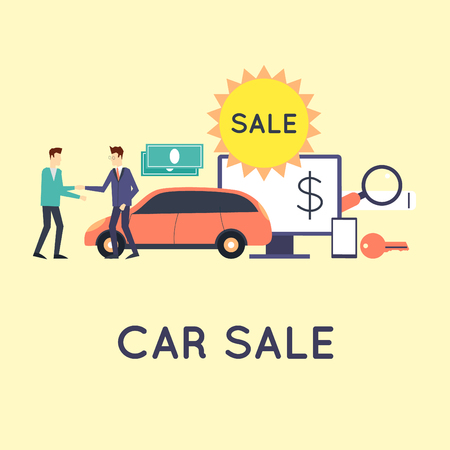 buyers: Buying and selling a car. Automobile dealer, sale and giving. On-line buying a car. Flat style vector illustration.