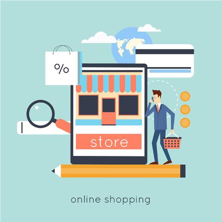 carport: Online store shopping. Process of buying goods online. Internet shopping. Vector illustration flat design.
