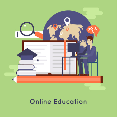 pied: On-line education, on-line learning, on-line training courses, university, tutorials. Flat design vector illustration.