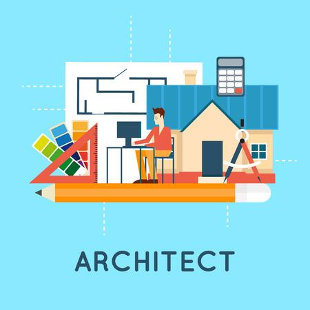 Arquitecto. Proyecto arquitectónico, proyecto arquitectónico, proyecto técnico. Ingeniería para la construcción de casas. Ilustración vectorial Diseño plano. Foto de archivo - 48036062