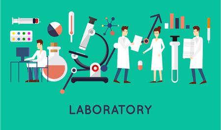 estudiantes medicina: Los científicos en los hombres y mujeres de laboratorio. Ilustración vectorial Diseño plano.