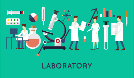 laboratory research: Scientists in the laboratory men and women. Flat design vector illustration.