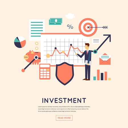 Making investments, growing business profit, strategic management, business, finance, consulting, building effective financial strategy. Flat design vector illustration.  イラスト・ベクター素材