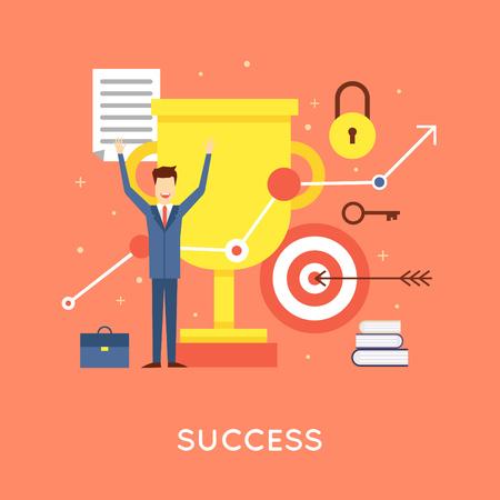 Succesvolle carrière zakenman, succesvol bedrijf. Platte ontwerp vector illustratie. Vector Illustratie