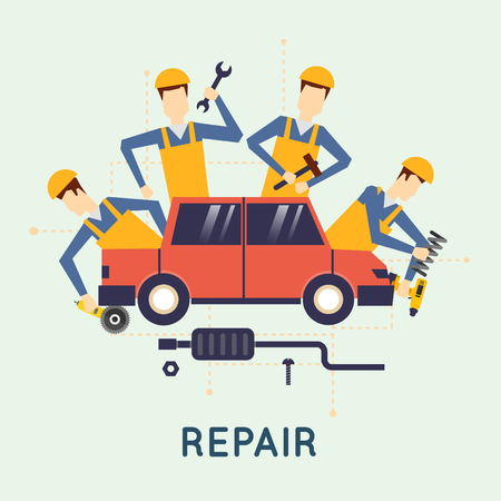 Auto reparatie. Auto onderhoud. Automonteur reparatie van machines en apparatuur. Auto diagnostiek. Vector illustratie en plat design.