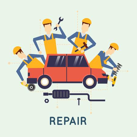 car: Riparazione auto. Servizio auto. Meccanico auto riparazione di macchine e attrezzature. Diagnostica degli automobili. Illustrazione vettoriale e design piatto. Vettoriali