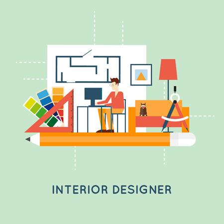 interior designer: Interior designer. Flat design vector illustration. Illustration