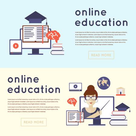 online education: On-line education, on-line learning, on-line training courses, university, tutorials. Flat design vector illustration.