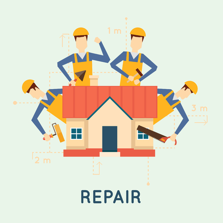 renovating: Home repairs. Home improvement painting brush, measuring, laying masonry, cut. Vector illustration and flat design. Illustration