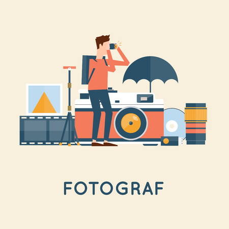 full length portrait: Photographer with cameras taking photos and icons. Flat design vector illustration.
