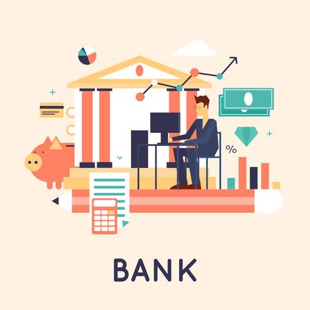 banco dinero: Banco depositó el dinero, las finanzas, las transferencias, la moneda, los depósitos. ilustración vectorial diseño plano.