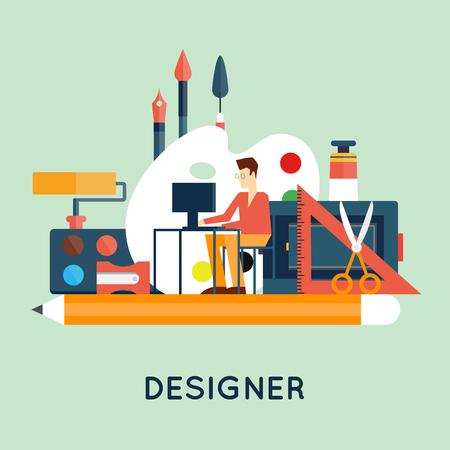 grafiken: Designer Charakter und Arbeitsbereich mit Werkzeugen und Geräten in der modernen Wohnung Stil. Creative-Prozess, Logo und Grafik-Design, Design-Agentur. Flaches Design Vektor-Illustration.