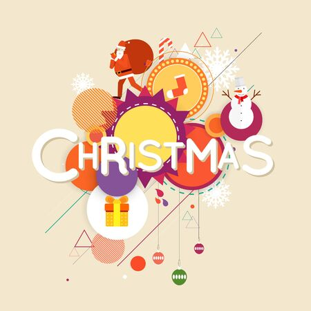 printed matter: Merry Christmas and Happy New Year poster with stylish text, postcard, banner, printed matter, lettering greeting card. Illustration