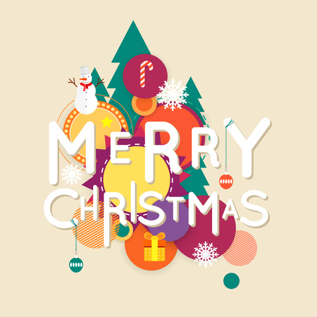 merry: Merry Christmas and Happy New Year poster with stylish text, postcard, banner, printed matter, lettering greeting card. Illustration