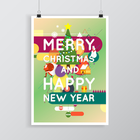 printed matter: Merry Christmas and Happy New Year poster with stylish text, postcard, printed matter, lettering greeting card.
