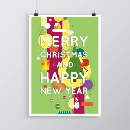 matter: Merry Christmas and Happy New Year poster with stylish text, postcard, printed matter, lettering greeting card.