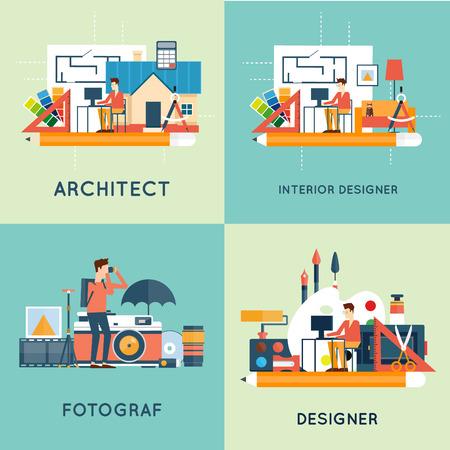 interior designer: Photographer, designer, architect, interior designer. Flat design vector illustration.