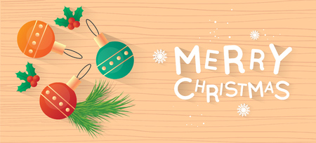 Merry Christmas and Happy New Year. New Year's toys on the wooden table top view and text. Postcard, banner, printed matter, lettering greeting card. Stock Illustratie