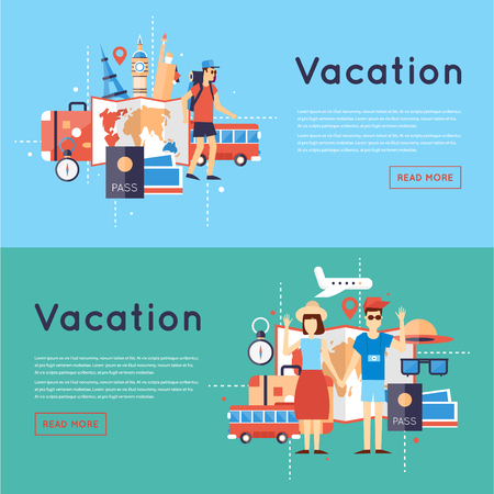 vacation: World Travel. Planning summer vacations. Tourism and vacation theme. Flat design vector illustration. Illustration