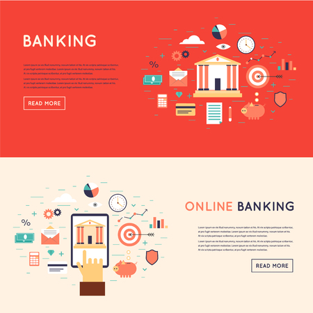 Bank deposited the money, finances, transfers, currency, deposits. On-line payment, mobile payments, electronic funds transfers. Flat design vector illustration. Ilustração