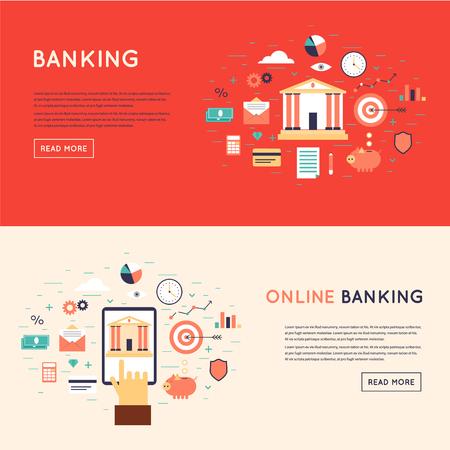 Bank gedeponeerd het geld, financiën, transfers, valuta, deposito's. On-line betaling, mobiele betalingen, elektronische overboekingen. Platte ontwerp vector illustratie.