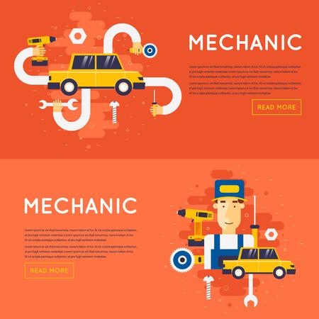 auto service: Car service. Auto mechanic repair of machines and equipment. Car diagnostics. Vector illustration and flat icons. Illustration