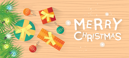 printed matter: Merry Christmas and Happy New Year. New Years toys and gifts on the floor top view and text. Postcard, banner, printed matter, greeting card. Flat design vector illustration.