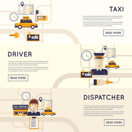 chofer: Llamada Taxi. Dispatcher recibe una llamada. Concepto de servicio de taxi. Conductor de taxi. Diseño plano.