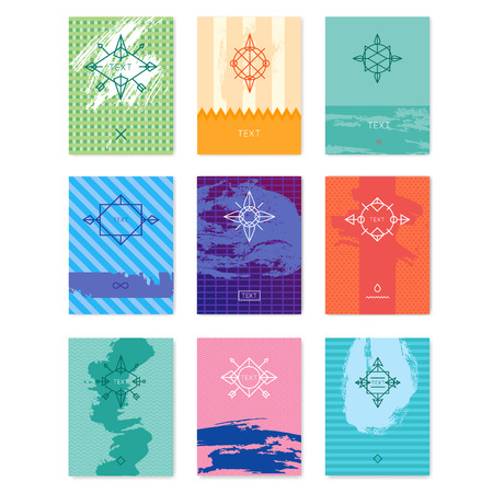 logotypes: Set of abstract geometric backgrounds with thin lines and paint stain minimalistic, modern backgrounds, hipster logotypes. Vector illustration.