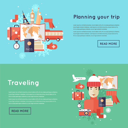 christmas icon: Tourism winter holidays, winter travel, winter holidays. Flat design vector illustration.