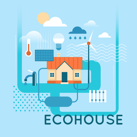 recycle symbol vector: Eco House. Flat design vector illustration.