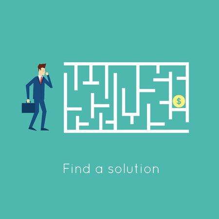 solve: Walk the labyrinth to solve the problem. Flat design vector illustration.