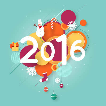 printed matter: Merry Christmas and Happy New Year poster with stylish text, postcard, banner, printed matter, greeting card. Flat design.